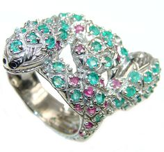 $73.15 Big! Stylish Cobra ! AAA Green Emerald & Ruby Sterling Silver ring s. 10 at www.SilverRushStyle.com #ring #handmade #jewelry #silver #emerald