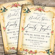 Printable Bridal Shower Invitation  Shabby Chic by Cloud9Factory