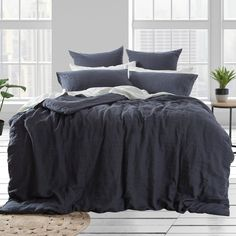Washed Linen Charcoal Quilt Cover Set