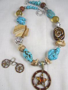 Western Necklace Chunky Magnesite Texas by DesignsofFaithandJoy,