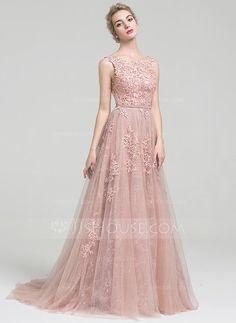 Vestidos princesa/ Formato A Decote redondo Cauda de sereia Tule Renda Vestido de festa com Beading (017093495)