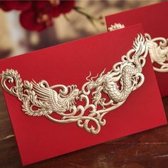 Red Chinese Dragon and Phoenix Wedding Invitations Cards with Envelopes, Seals