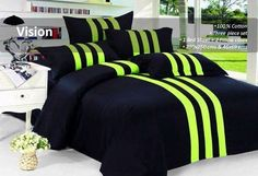 Wonderful Bedsheet - #Krtifab redefines the stripes in contrasting colors with this black and florescent hued bed sheet set. Its lush comfort from its cotton count offers a great way to unwind. Visit us at www.facebook.com/KrtiF