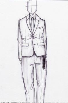 Quick ball point and Prismacolor illustration, shrunken suit w/ hidden placket dress shirt and extra long belt.