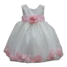 For your free-spirited girl, this dainty dress will surely be a spectacle to any party or occasion. The sleeveless shiny satin dress features beautiful pink petal detail and a wide waistband with oversized flowery adornment. The cute florals give flavor t