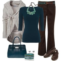 A fashion look from December 2012 featuring CC jeans, Crocs flats and Armani Exchange handbags. Browse and shop related looks. Casual Dress Outfits, Business Casual Outfits, Fall Outfits, Cute Outfits, Fashion Outfits, Cardigan Outfits, Fashion Ideas, Summer Outfits, Brown Pants Outfit For Work