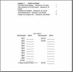 Printable Forms for Silent Auction registration | Silent Auction ...