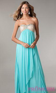 Long Strapless Empire Waist Dress, LA Glo Strapless Gown-PromGirl