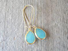 Aqua Gold Bohemian Earrings - Gypsy Stone Boho Earrings - Beach Wedding Jewelry - Bohemian Jewelry on Etsy, $45.00