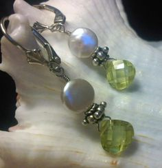 Lime Luscious Coin Pearl   Sterling Silver Lime CZ White by dbsj, $29.95