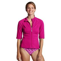 -Lands End-Women's Regular AquaTerra Short Sleeve Zip-front Rash Guard - Prism Pink, L