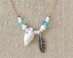 Sea glass jewelry, beachcomber necklace, beach boho