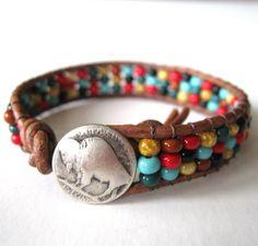 Fall Into Autumn - Western Harvest - Friendship Bracelet - Czech glass on distressed brown leather - Beaded Leather Wrap Bracelet