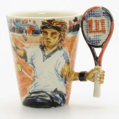 Tennis Mug Ceramic 3D Handmade Art Coffee Cup Sport Collectible Gift   madamepomm - Earth Friendly on ArtFire