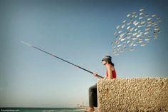 The Fisherman by Ronen Goldman surrealist photographer surreal art via anna ferenczy Photography Office, Types Of Photography, Fine Art Photography, Oleg Oprisco, Photo Dream, Modern Metropolis, Create Photo, Tel Aviv, Buy Prints