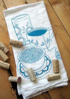 Mantel de algodón ilustrado