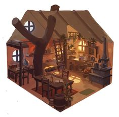 House Tree Illustration Artworks New Ideas Bg Design, Game Design, Prop Design, House Design, Art Isométrique, Isometric Art, Fantasy House, Interior Concept, Visual Development