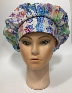 Cotton Scrub Cap with Buttons option Pink Diamond lined nurse doctor medical healthcare dental