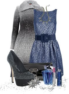 """""""Blue and Silver"""" by renee-switzer on Polyvore"""