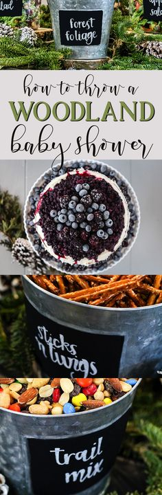 DIY Woodland Themed Baby Shower How-To. Woodsy food and party decoration ideas and inspiration. The perfect event to celebrate an expecting mom and baby boy on the way! Mommy, mother, dessert, berry, forest, tree, ring, stump, sticks, branches, foliage, drinks, cake, dessert, garland, banner, straws.