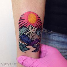 @ quejlaverga /// tatuaje a color Dream Tattoos, Future Tattoos, Sexy Tattoos, Body Art Tattoos, Tatoos, Tatto Ink, Tattoo Pics, Landscape Tattoo, Tattoo Illustration