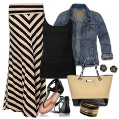 """strategic stripes maxi skirt outfit for travel/                    """"Untitled #427"""" by ohsnapitsalycia on Polyvore"""