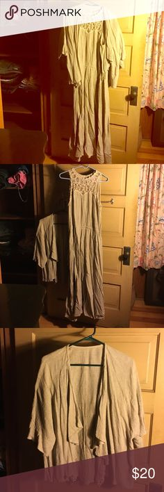 Casual rayon khaki color dress. Spencer Alexis Casual rayon khaki color dress. Spencer Alexis. Dress with matching jacket. Pretty details on neckline and front bottom hem of jacket. Spencer Alexis Dresses Maxi