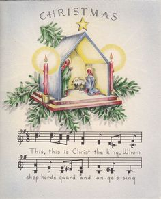 No wait, I like this one even better! Vintage Greeting Card Christmas 1940s Nativity Music Religious Norcross v679