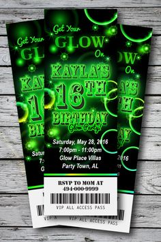 Ticket style invitations will have TWO tickets on each print. Each ticket will print x on the Sweet 16 Invitations, Ticket Invitation, Printable Birthday Invitations, Sunshine Birthday Parties, Party Tickets, Glow Party, Neon Signs, Printed, Website