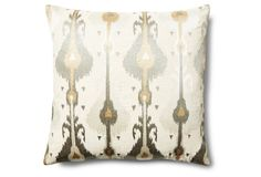Ikat 20x20 Embroidered Pillow, Natural