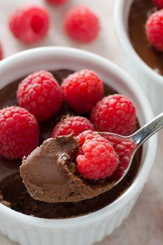 Easy Dark Chocolate Pots de Creme -  no-cook dessert you make in the blender. Dairy-free, gluten-free, paleo. | cookeatpaleo.com