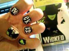 hellaleah:  WICKED the musical completely changed my perspective on the Wizard of Oz …so, inspired by the musical…i put it on my nails :]