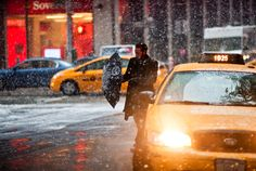 NYC snow fall | New York City winter | taxi
