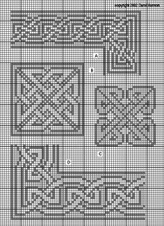 Hasil gambar untuk Cross stitch trefoil style border pattern