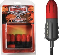 A Revolutionary New Bowhunting Product Simply secure your or Magnum round into the Bow-Mag Arrowhead cylinder, turn until the casing threads lock in place, then attach to your standard arrow shaft or crossbow bolt. The Bow-Mag is designed with saf Best Hunting Bow, Hunting Bows, Archery Hunting, Crossbow Hunting, Hunting Rifles, Hunting Gear, Deer Hunting, Archery Gear, Archery Bows