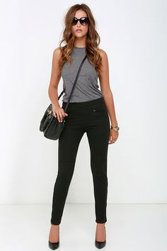 fitted black pants