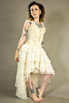 Burleska Cream Steampunk Dress - Ophelie w/Cream Lace