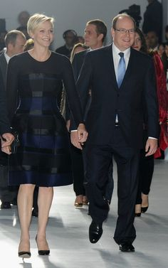 Princess Charlene and Prince Albert at the Dior Cruise Collection 2014 in Monaco