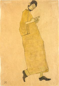 Egon Schiele, Male Figure Facing Right (Self Portrait) 1909 on ArtStack #egon-schiele #art