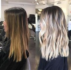 50 Amazing Blonde Balayage Haircolor Before / after to blonde bayalage Ashy Blonde Balayage, Balayage Highlights, Blonde Ombre, Brunette Going Blonde, Ash Blonde, Platinum Blonde, Ombre Hair Color, Hair Color Balayage, Hair Colors