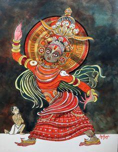 Dialogues with Arjuna. #Virat #Theyyam #krishnafortoday #watercolour