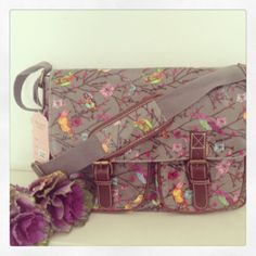 The newest bag in my collection Very pretty birds and blossom tree in grey By Anna Smith Approx Fully lined lots of pockets adjustable Anna Smith, Shabby Chic Gifts, Blossom Trees, Pretty Birds, New Bag, Home Decor Items, Wooden Signs, Saddle Bags, Pockets