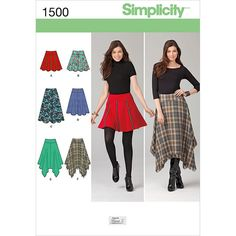 Simplicity Pattern 1500R5 14-16-18-2-Misses Skirts Pants
