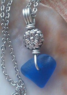 "Blue Sea Glass Jewelry Necklace 23.5"" Stainless Hawaii Beach Comber Flower #Handmade #Pendant"