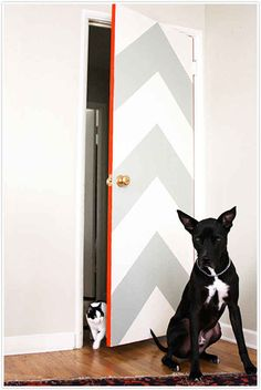 Make boring doors pop with bold shapes and a stripe of bright color with this chevron door tutorial from Claire at Camille Styles. More:DIY Chevron Wall Chevron Door, Paredes Chevron, Porta Diy, Diy Interior Doors, Interior Design, Kitchen Interior, Deco Originale, Blog Deco, Decorating Rooms