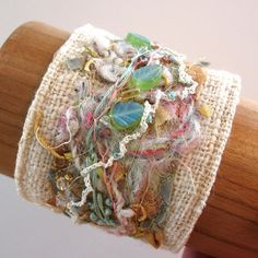 Shabby Chic Fiber Art Cuff by KathyKinsella on Etsy, $40.00