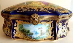 Sevres Style Porcelain Box Hand Painted Chateau des Tuileries Vintage •…