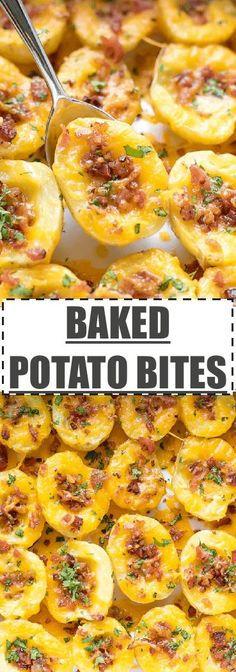 #ad Cheesy Crispy Baked Potato Bites Recipe - easy to make, fun and delicious mini bites, great for a side dish, appetizer or a light meal. Small Yukon Potato halves, topped with bacon and cheese and baked to perfection. via @cookinglsl