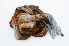 silk scarf  Simply Versailles  brown cognac grey silk by valezhki, $35.00