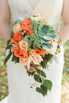 Garden wedding bouquet idea - peach rose and grand succulent wedding bouquet with cascading greens {Alyona Photography}
